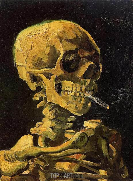Skull with Burning Cigarette, 1886 | Vincent van Gogh | Gemälde Reproduktion