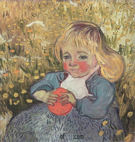 Child Sitting in the Grass with an Orange or a Ball, 1890 | Vincent van Gogh | Painting Reproduction