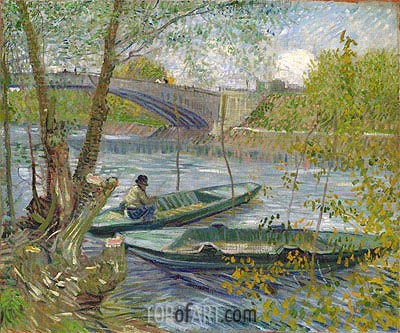 Fishing in Spring, the Pont de Clichy (Asnieres), 1887 | Vincent van Gogh | Painting Reproduction