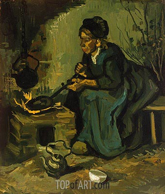 Peasant Woman Cooking by a Fireplace, 1885 | Vincent van Gogh| Painting Reproduction