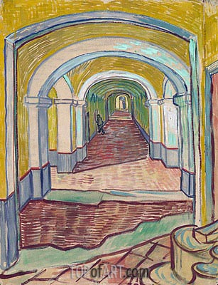 Corridor in the Asylum, 1889 | Vincent van Gogh | Gemälde Reproduktion