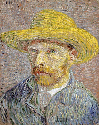 Self Portrait with a Straw Hat, c.1887 | Vincent van Gogh | Painting Reproduction