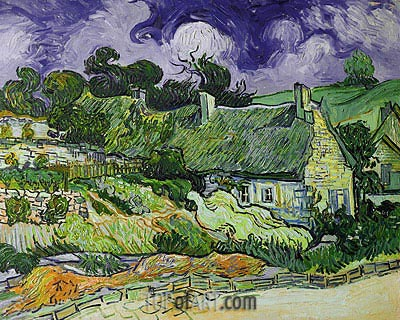 Thatched Cottages at Cordeville, 1890 | Vincent van Gogh | Gemälde Reproduktion