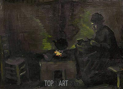 Peasant Woman by the Hearth, c.1885 | Vincent van Gogh| Painting Reproduction