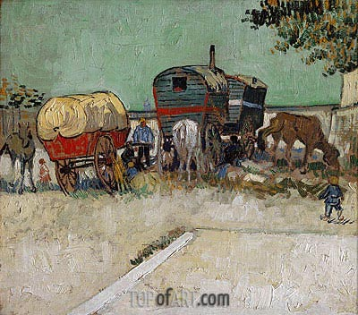 Encampment of Gypsies with Caravans, 1888  | Vincent van Gogh| Painting Reproduction