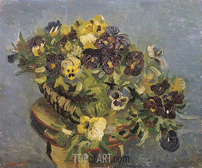 Basket of Pansies on a Small Table, 1887 | Vincent van Gogh| Painting Reproduction