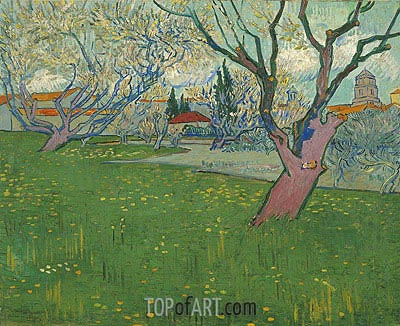 Orchards in Blossom, View of Arles, 1889 | Vincent van Gogh | Painting Reproduction