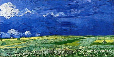 Wheatfields under Thunderclouds, 1890 | Vincent van Gogh | Painting Reproduction