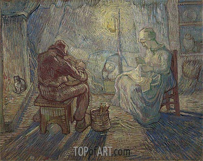 Night (after Millet), 1889 | Vincent van Gogh| Painting Reproduction