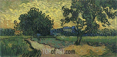 Landscape at Twilight, 1890 | Vincent van Gogh | Painting Reproduction