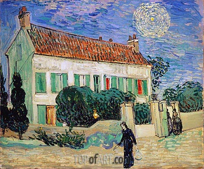 White House at Night, 1890 | Vincent van Gogh | Gemälde Reproduktion