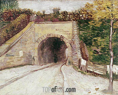 Roadway wtih Underpass (Tunnel through Hillside), 1887 | Vincent van Gogh| Gemälde Reproduktion