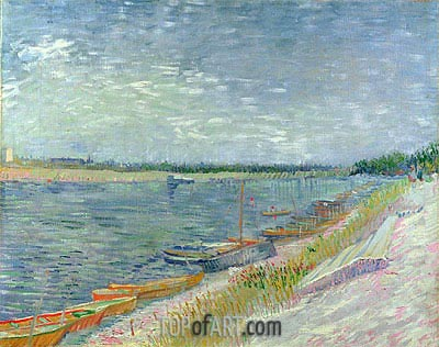 View of a River with Rowing Boats, 1887 | Vincent van Gogh| Painting Reproduction