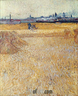 Wheatfield with Sheaves, 1888 | Vincent van Gogh| Painting Reproduction