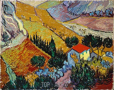 Landscape with House and Ploughman, 1889 | Vincent van Gogh| Painting Reproduction