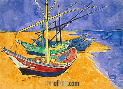 Fishing Boats on the Beach at Saintes-Maries-de-la-Mer, 1888 | Vincent van Gogh| Painting Reproduction