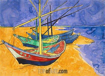 Fishing Boats on the Beach at Saintes-Maries-de-la-Mer, 1888 | Vincent van Gogh | Painting Reproduction