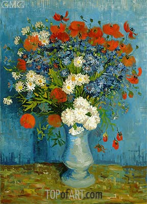 Vase with Cornflowers and Poppies, 1887 | Vincent van Gogh | Painting Reproduction