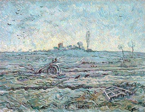 Schneebedeckte Feld mit einer Egge, 1890 | Vincent van Gogh | Gemälde Reproduktion
