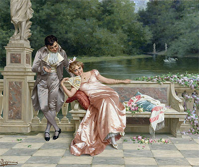 The Flirtation,  | Vittorio Reggianini | Painting Reproduction