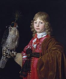 Portrait of a Boy with a Falcon, undated by Wallerant Vaillant | Painting Reproduction
