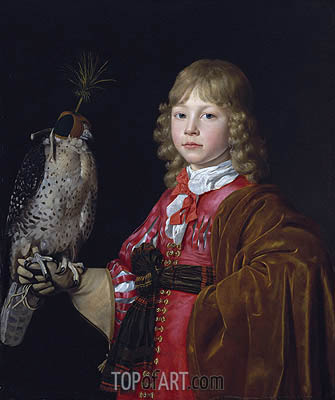 Portrait of a Boy with a Falcon, undated | Wallerant Vaillant | Painting Reproduction