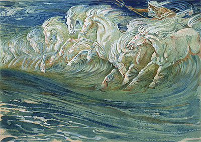 Neptune's Horses, 1910 | Walter Crane | Painting Reproduction
