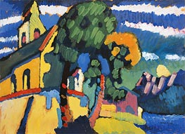 Bavarian Landscape with a Church, 1907 by Kandinsky | Painting Reproduction