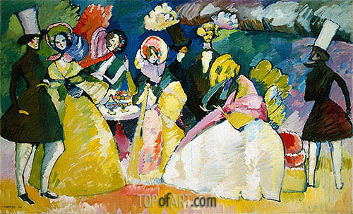 Group in Crinolines, 1909 | Kandinsky | Painting Reproduction