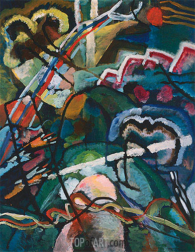 Sketch I for Painting with White Border (Moscow), 1913 | Kandinsky| Painting Reproduction