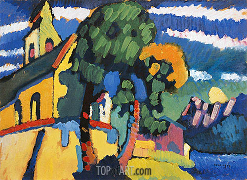 Bavarian Landscape with a Church, 1907 | Kandinsky | Gemälde Reproduktion