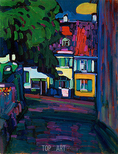 Murnau, Houses in the Obermarkt, 1908 | Kandinsky | Painting Reproduction