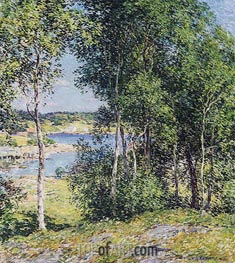 A Family of Birches, 1907 by Willard Metcalf | Painting Reproduction