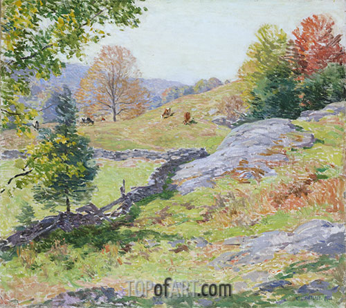 Willard Metcalf | Hillside Pastures - September, 1922