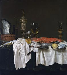 Still Life with a Lobster, c.1650/59 von Claesz Heda | Gemälde-Reproduktion
