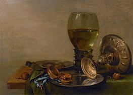 Still Life with Roemer and Silver Tazza, 1630 by Claesz Heda | Painting Reproduction