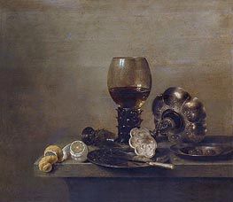 Still Life with a Broken Glass, 1642 by Claesz Heda | Painting Reproduction