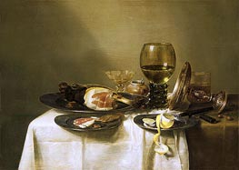 Still Life with a Ham and a Roemer, c.1631/34 von Claesz Heda | Gemälde-Reproduktion