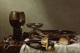 Still Life with a Roemer and Watch, 1629 by Claesz Heda | Painting Reproduction