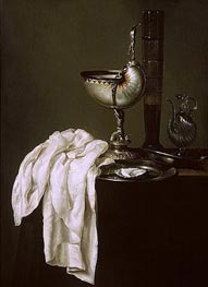 Still Life with Nautilus Cup and Oyster, 1640 by Claesz Heda | Painting Reproduction