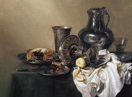 Still Life with Meat Pie, 1633 by Claesz Heda | Painting Reproduction