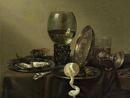 Still Life with Oysters, a Rummer, a Lemon and a Silver Bowl, 1634 by Claesz Heda | Painting Reproduction