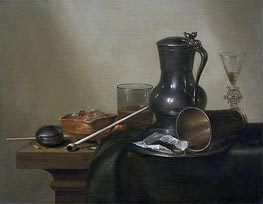 Tobacco Still Life, 1637 by Claesz Heda | Painting Reproduction