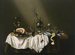 Banquet Piece with Ham, 1656 by Claesz Heda | Painting Reproduction
