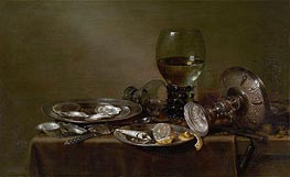 Still Life with Oysters, a Silver Tazza and Glassware, 1635 by Claesz Heda | Painting Reproduction