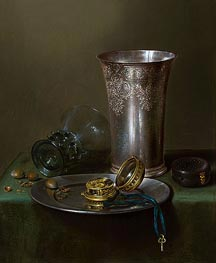 A Still Life with a Silver Goblet and a Watch on a Pewter Plate | Claesz Heda | veraltet