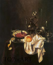 Still Life of Ham and Silver Plate | Claesz Heda | Gemälde Reproduktion