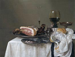A Still Life with a Roemer, Silver Tazza and Ham | Claesz Heda | Gemälde Reproduktion