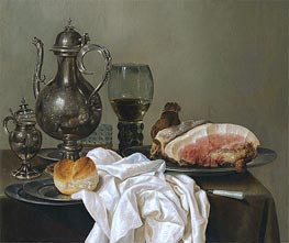 A Still Life with a Silver Tazza, a Roemer with White Wine and Ham | Claesz Heda | Gemälde Reproduktion