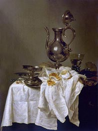 Still Life with Silver Ewer and Watch | Claesz Heda | Gemälde Reproduktion